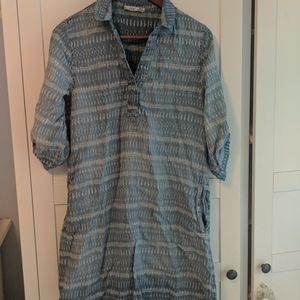 Tunic style patterned boho top with pockets